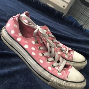 Pink and white polka dot converse size 8 woman's